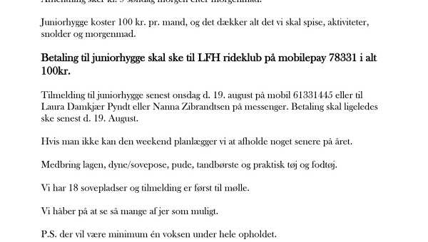 Lukket for tilmeldning - Juniorhygge på LFH d. 22.-23. august 2020 -